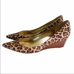 Marc Fisher CRISPY Leopard Pointed Toe Wedge Heels